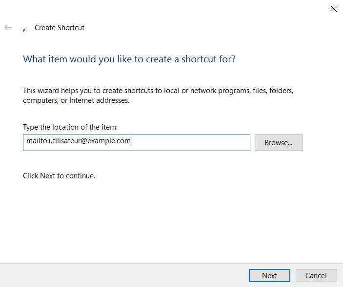 Crear un acceso directo de correo electrónico en Windows